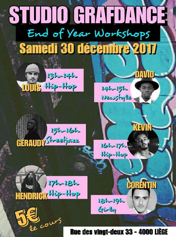Workshop de fin d'année 2017 _ Girly  : samedi 30 dec.