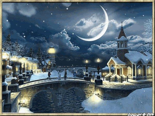 la lune qui brille dans un ciel hiver