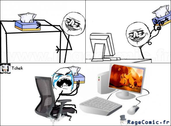 Des mouchoirs et un PC...