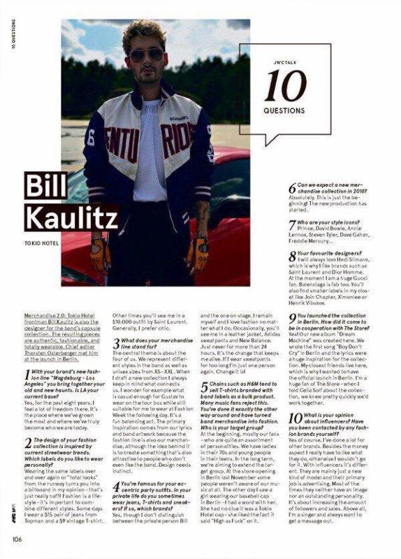 10 questions à Bill Kaulitz. (Merci à la page TH France sur FB)