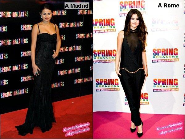 *      ..Les avants-premières de Spring Breakers en Europe sont maintenant terminées.. -> Vote pour ta tenue préférée de Selena Gomez lors des ces avants premières.*