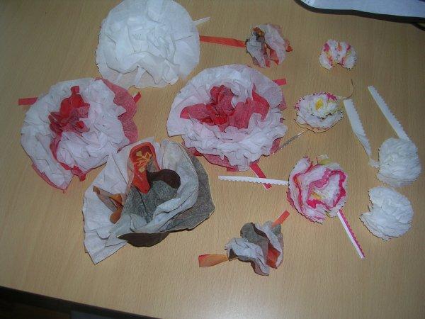 Fleurs en serviettes en papier