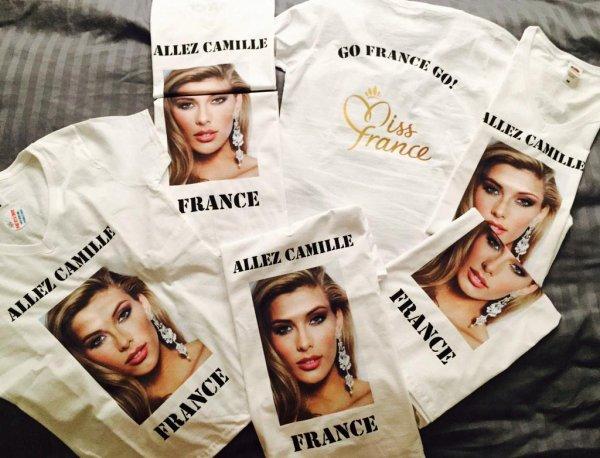 T-shirts de supporters de Camille + photos de Camille à Miss Univers