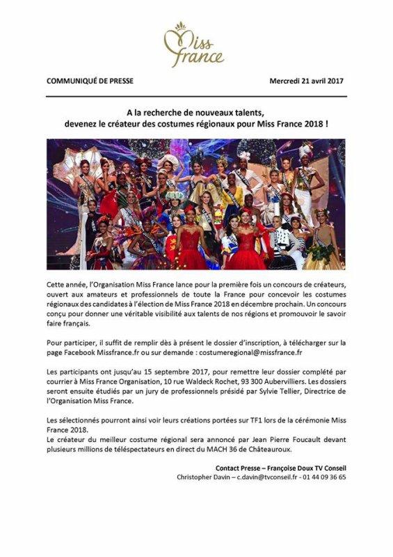 Créateur des costumes régionaux pour Miss France 2018