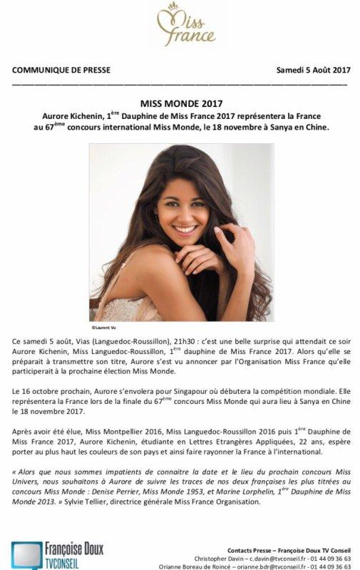 Aurore Kichenin - Miss Monde