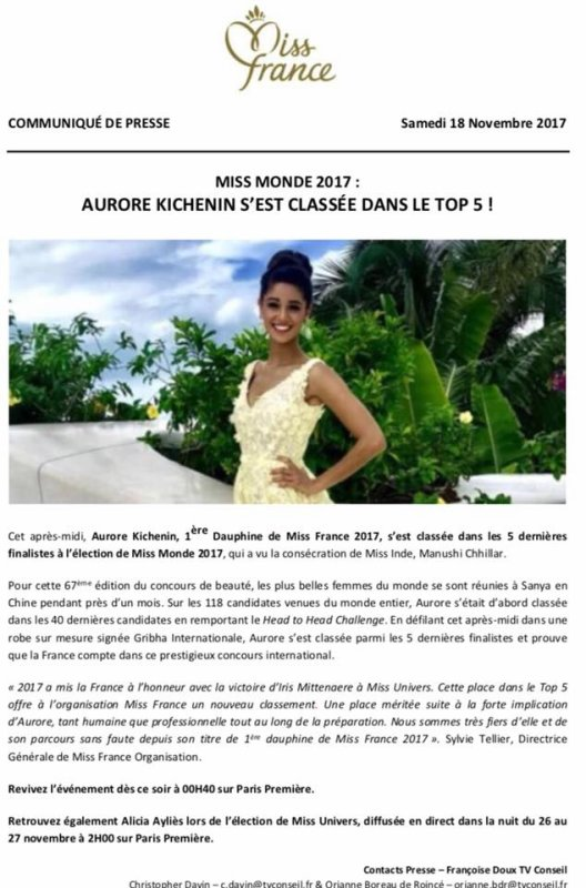 Aurore Kichenin - 3ème dauphine de Miss World