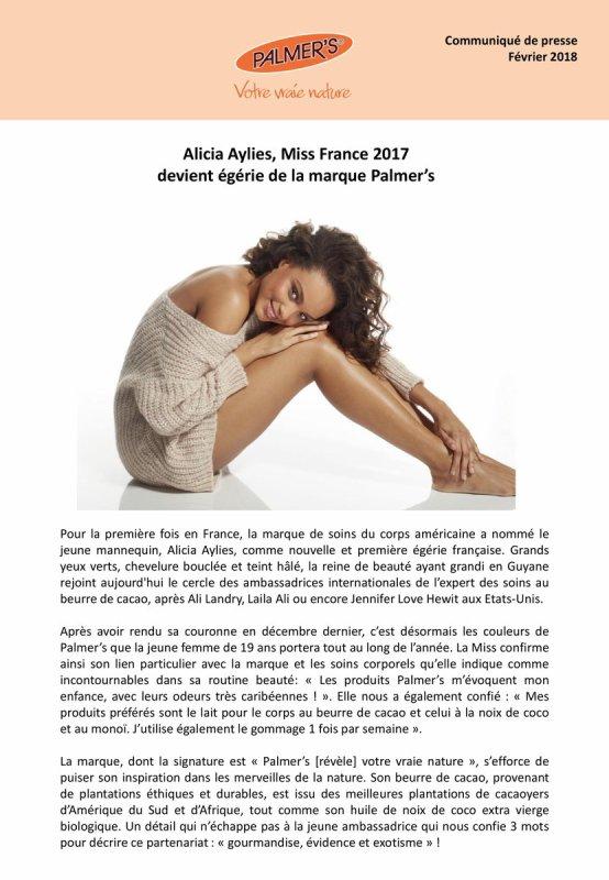 Alicia Aylies - Egérie de la marque Palmer's