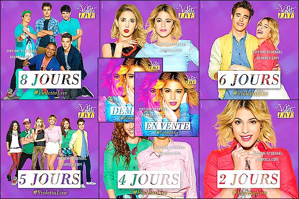 .                                                                                                                                                                                        PROMOTIONS - Découvrez plusieurs photos promotionnelles, issues de la nouvelle tournée #ViolettaLive                                                                                                                                                                                     La billetterie est à présent ouverte, donc filez vite les acheter ! Des affiches publicitaires sont dans les rues de Paris ! Visionnez-une ici.                                                                                                                                                                                       .