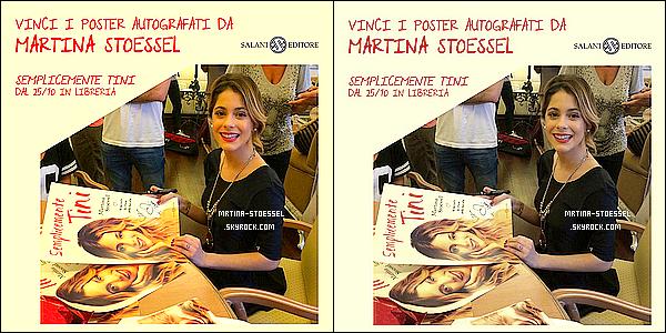 .                                                                                                                                                                                         LIVRE - Le premier livre de Martina, << Simplement Tini >> sors le 25 septembre pour ses fans italiennes.                                                                                                                                                                                             Tini a dédicacé des posters pour les gagnants d'un concours & à fait un message à ses fans. Le concours d'écriture sera terminé le 30 septembre.                                                                                                                                                                                         .