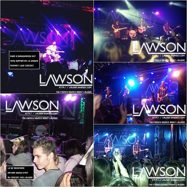 """Le 02/11/2012 - Le groupe Lawson continue leur tournée « Hometown Tour » cette fois ci à """"Brighton concorde 2"""" ! Le concert avait l'air génial !"""