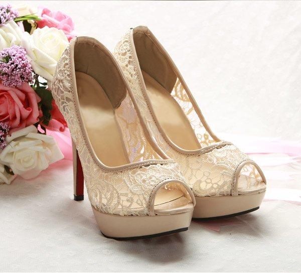 680c58cb449e4 Beige Toes Shoes Pierced Sexy Lace Bridal Shoes - alisonamo111's blog