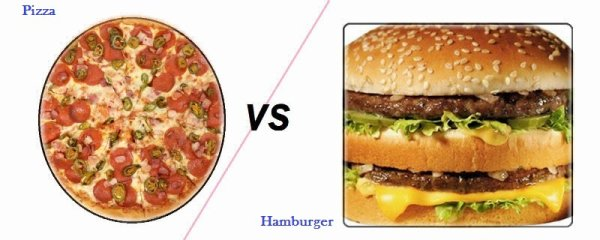 VS 6 : Pizza / hamburger