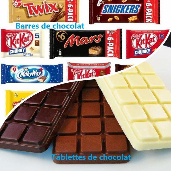 VS 93 : Barres de chocolat / tablettes de chocolat
