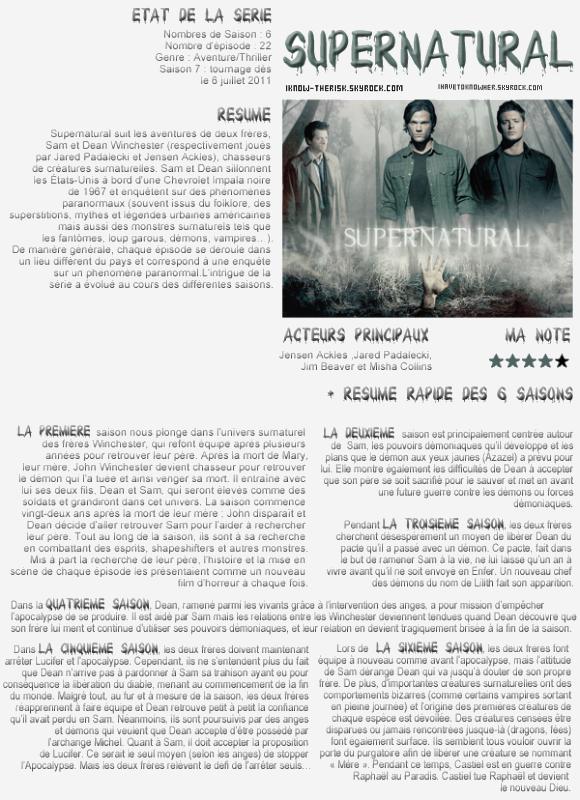 Article n°2 ❥ Supernatural ( Merci à ma partenaire )