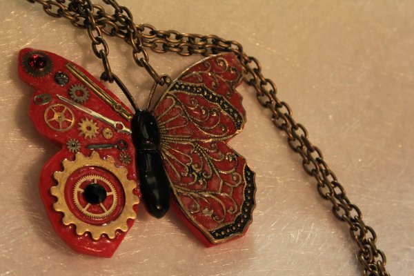Collier papillon inspiration Steampunk