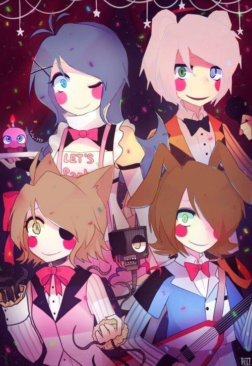 Yuki,Yuchiro,Lelouch et Ellena version Meagle,toy bonnie,toi chica et toy freddy dans fnaf #AyaXAllen