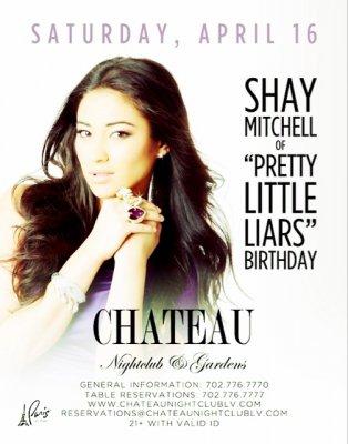 15.04.2011 - Ashley Benson, Lucy Hale et Shay Mitchell sont toutes les trois à Las Vegas pour fêter l'anniversaire de Shay qui se déroulera le 16 Avril à « Chateau Nightclub ». Alors qu'elles se trouvent déjà en ville, les actrices en ont profité pour se rendre le 15 Avril a l'anniversaire de Kourtney Kardashian qui s'est déroulé au «Gallery Nighclub». Vous pouvez admirer comme elles étaient belles! Qui était la plus jolie, d'après vous?