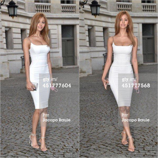 Zahia arrive au défilé haute couture Versace automne-hiver 2014-2015 à Paris, le 6 juillet 2014.