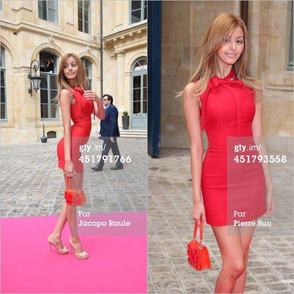 Zahia au défilé Schiaparelli Haute Couture Automne-Hiver 2014/2015 le 7 juillet 2014 à Paris.