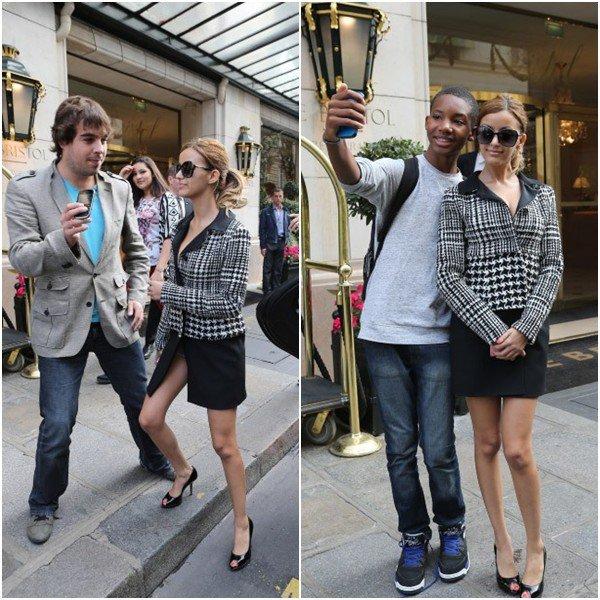 Zahia sortant de l'hôtel Bristol le samedi 2 octobre 2013.