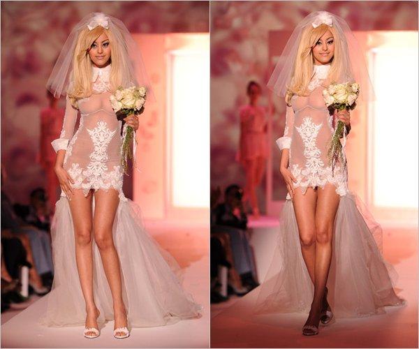 Zahia présentait sa nouvelle collection de lingerie en marge de la Fashion Week Haute Couture Automne-Hiver 2012-2013 au sein de l'hôtel Salomon de Rotschild à Paris le 02 juillet 2012.