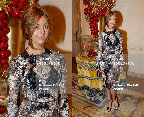 """Zahia au Gala du Cercle de l'Union interalliée en faveur de """"Children for Peace"""" à Paris, le 12 décembre 2014."""