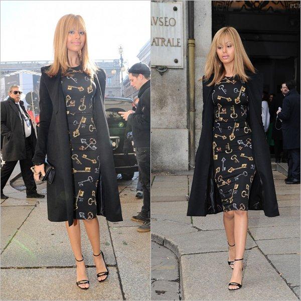Zahia a été repérée ce vendredi 30 janvier, pour le Alta Moda au défilé Dolce & Gabbana à Milan en Italie.