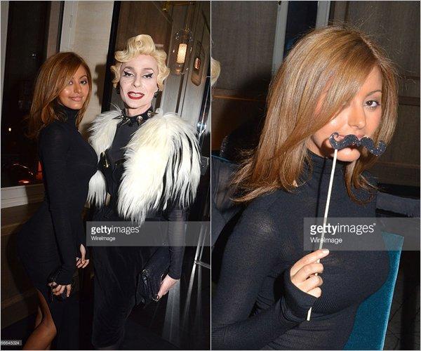 Zahia lors de la soirée d'anniversaire de Emmanuel de Brantes avec Lola Mercier, à Paris, le 17 mars 2015.