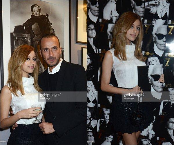Zahia lors de la soirée pour le magazine 7 Hollywood à la Galerie du Passage à Paris, le 21 novembre 2013.