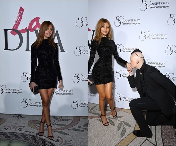Zahia célèbre les 50 ans d'Ungaro et lancement du nouveau parfum La Diva au Petit Palais à Paris, le 26 janvier.