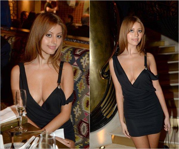 Zahia était avec Ali Mahdavi au restaurant Manko situé à la 15ème avenue montaigne à Paris, le 7 février.
