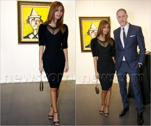 Zahia a assistée à l'exposition du buffet de Bernard à L'opéra Gallery à Londres, le 18 février dernier.