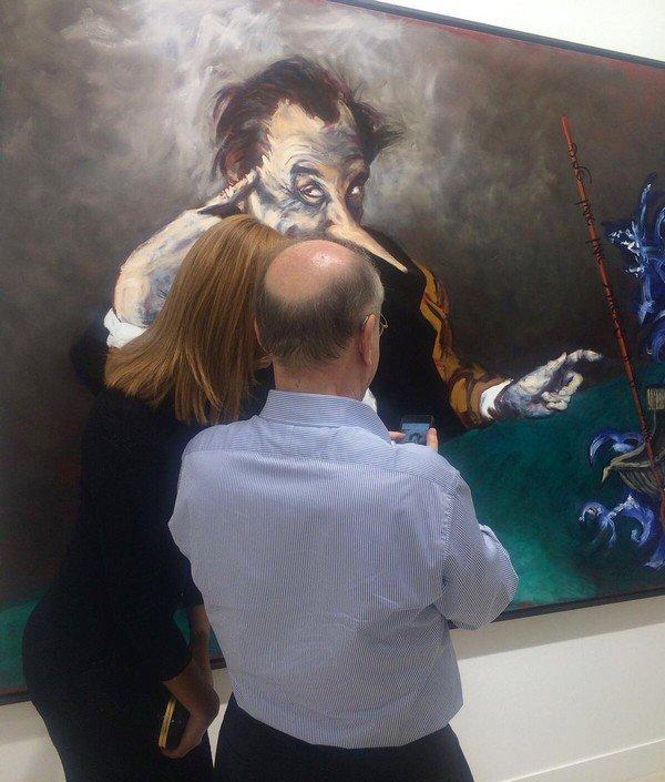 Hier soir à la @fia 🎨 « Pinocchio et la partie de dé » (2017) #GerardGarouste chez #galerietemplon ! #FIAC #FIAC2017 #paris #art