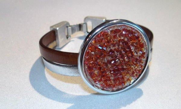 bracelet cuir et swarovski