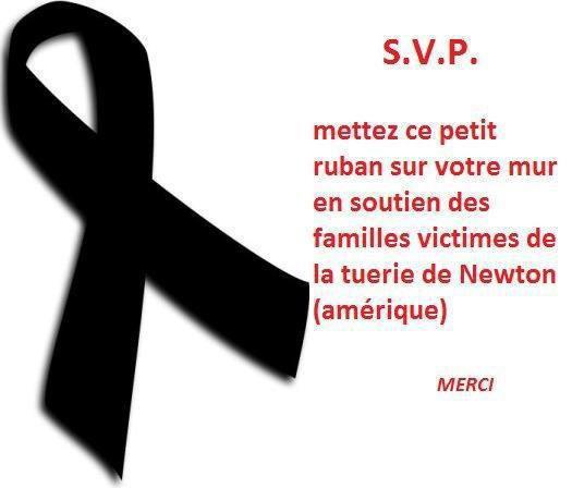 RUBAN EN SOUTIEN DES FAMILLES VICTIMES DE LA TUERIE AUX ETATS UNIS....PAIX A LEURS AMES...