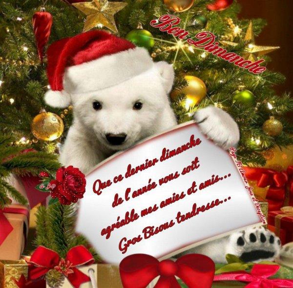QUE CE DERNIER DIMANCHE DE L'ANNEE 2012 VOUS SOIT TRES AGREABLE MES AMI(E)s! pour moi il signifie plutot dernier jour de vacances lol et reprise du boulot demain! snif! gros bisous.... !!!