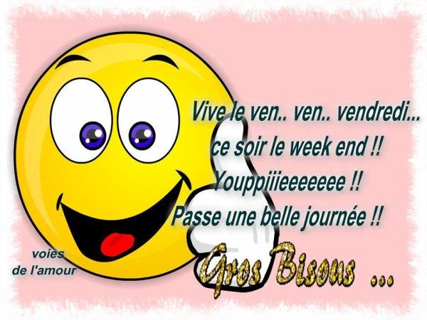 BON VENDREDI ET BONNE FIN DE SEMAINE A VOUS TOUS ET TOUTES...BISOUSS... !!!