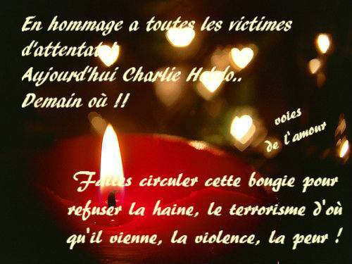 HOMMAGE A TOUTES LES VICTIMES D'ATTENTAT....AUJOURD'HUI CHARLIE HEBDO..DEMAIN CE SERA OU ? PAIX A LEURS AMES...