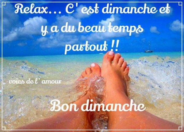 BON DIMANCHE....SOUS LE SOLEIL !!! ;) BISOUSSSS ♥♥♥
