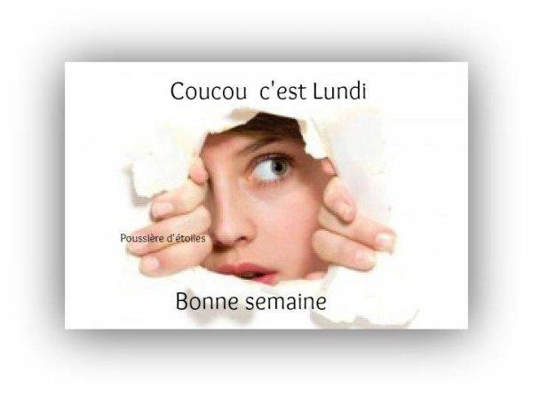BONNE FIN DE LUNDI....BONNE SEMAINE A VOUS TOUS ET TOUTES ! BISOUS MES AMI(E)S.....♥♥♥