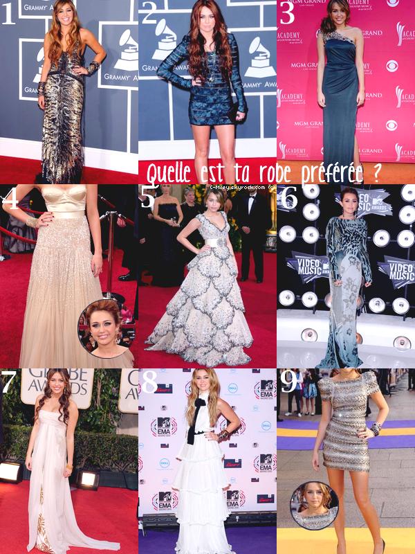 Voici 9 robe de cérémonie de Miley, pour toi quelle tenue est la meilleure et la pire ? :D