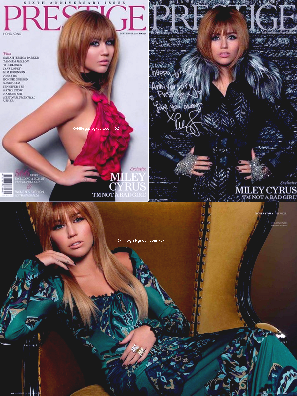 06.09.2011   -   Miley posant pour le magasine Prestige.    Miley a posée pour le magasine Prestige qui sortira dans quelque jours au US, Je la trouve MAGNIFIQUE, j'adore!