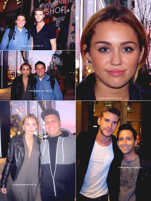 07.09.2011   -   Miley et Liam avec les fans.    Miley et son petit ami, Liam on fait des photos avec leurs fans devant le magasin TOPSHOP à Chicago !