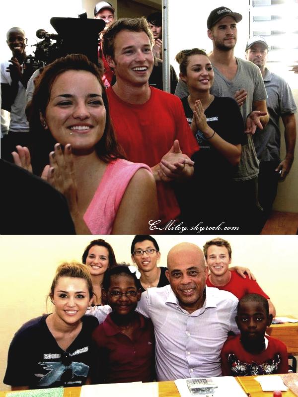 05.10.2011   -   Miley en Haïti !    Après de longue journée passé avec sa famille et sans nouvelle, en se moment Miley est en Haïti, pour l'inauguration d'une école .
