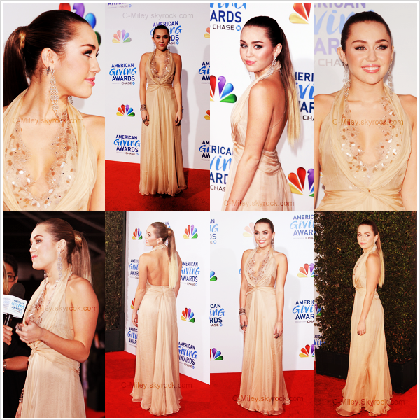 "EVENEMENT       -       Miley  au American Giving Awards a Los Angeles        Miley s'est rendue hier soir à l'événement "" American Giving Awards "" à Los Angeles pour soutenir l'association "" To Write Love On Her Arms "". Sa tenue : Miley est très belle, j'aime beaucoup la robe, pour moi sa sera un TOP  . Note : 8/10. Commentaire sur la note: Miley a assuré pour cet événement.Ton avis et ta note ?"