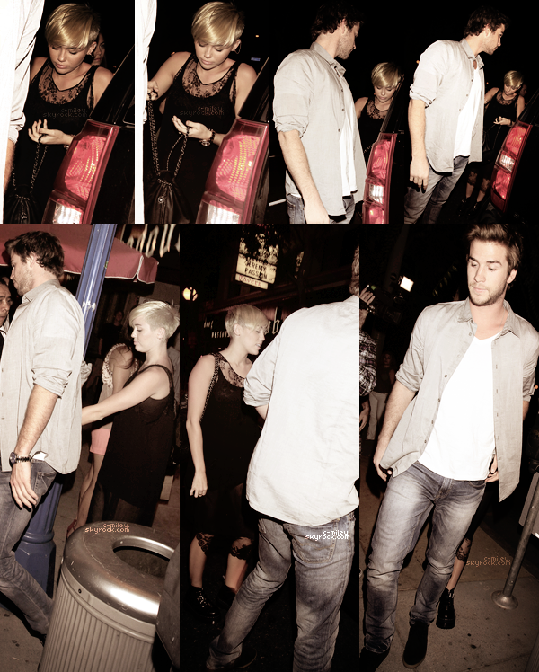 "- Miam ont été vus le 15 septembre à The Troubadour dans le West Hollywood, côté tenue, Miley s'est habillée plutôt ""Rock"", pour moi se sera un bof :)  -"