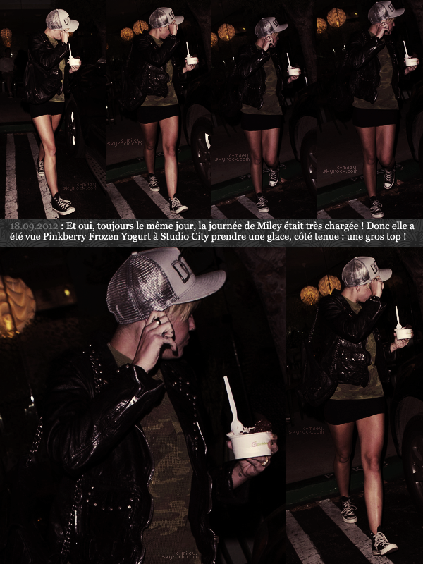 - Miley à Studio City ayant dans la main une délicieuse glace. TOP. -