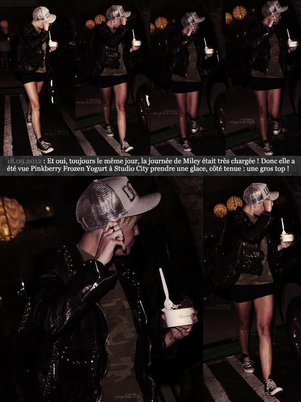 - Miley à Studio City ayant dans la main une délicieuse glace. TOP. -