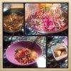Samossas a la viande et nouilles aux légumes sautés façon thaï
