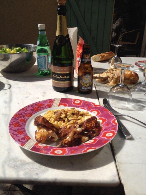 Poulet citron moutarde herbes de Provence, coquillères jus de poulet oignons échalotes ail caramélisés